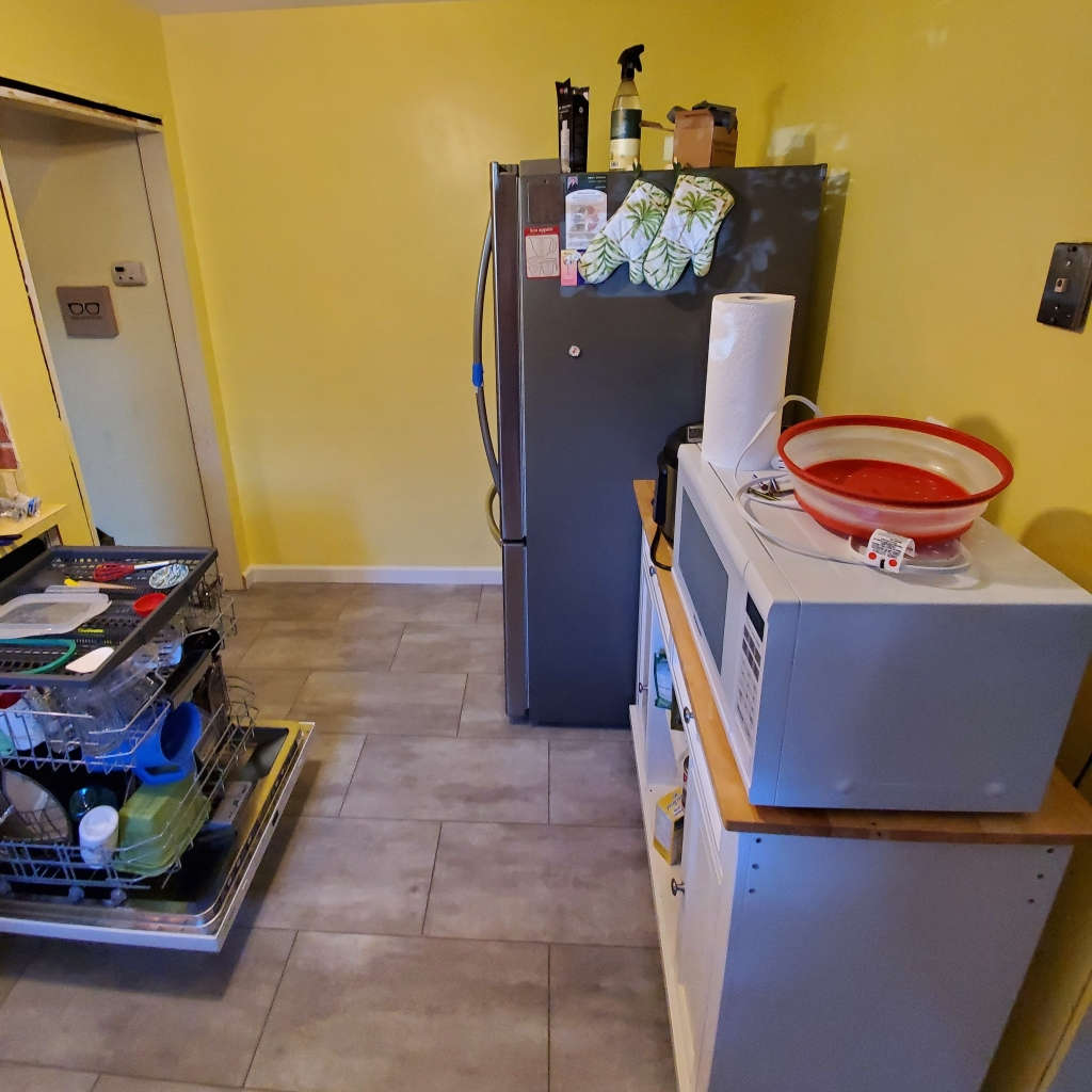 Photo of my refreshed kitchen. Writing Connections: DIY and Writing Part 2. Text by Rita E. Gould